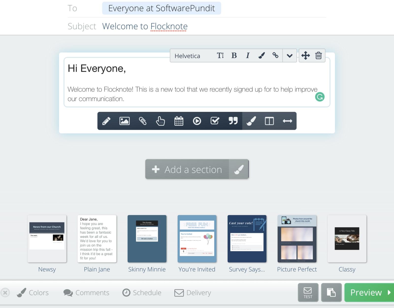 Flocknote email builder