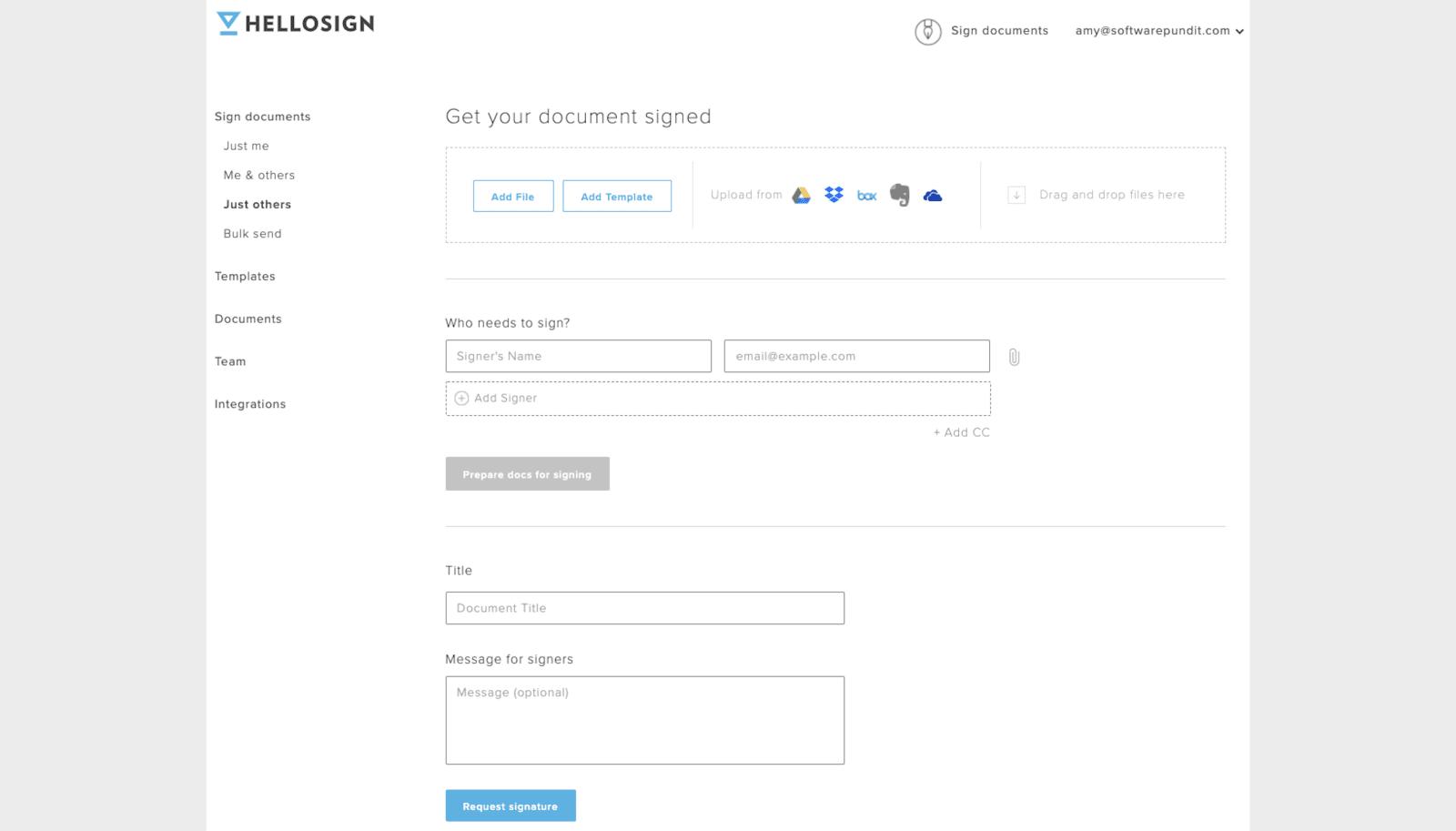 HelloSign Document Sending
