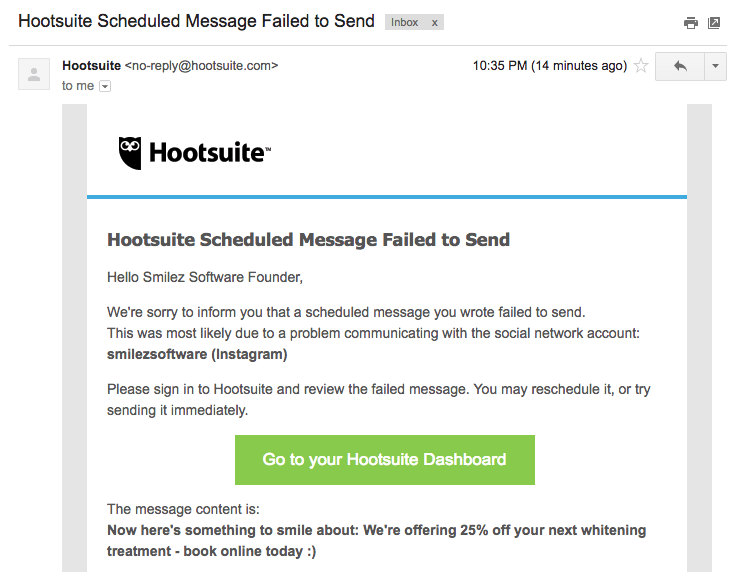 Hootsuite failed to send