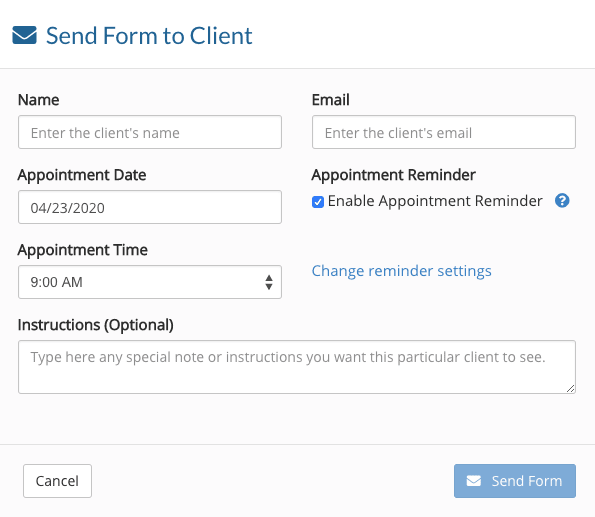 IntakeQ how to send intake form