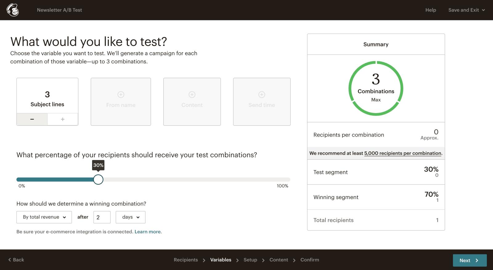 mailchimp ab testing dashboard