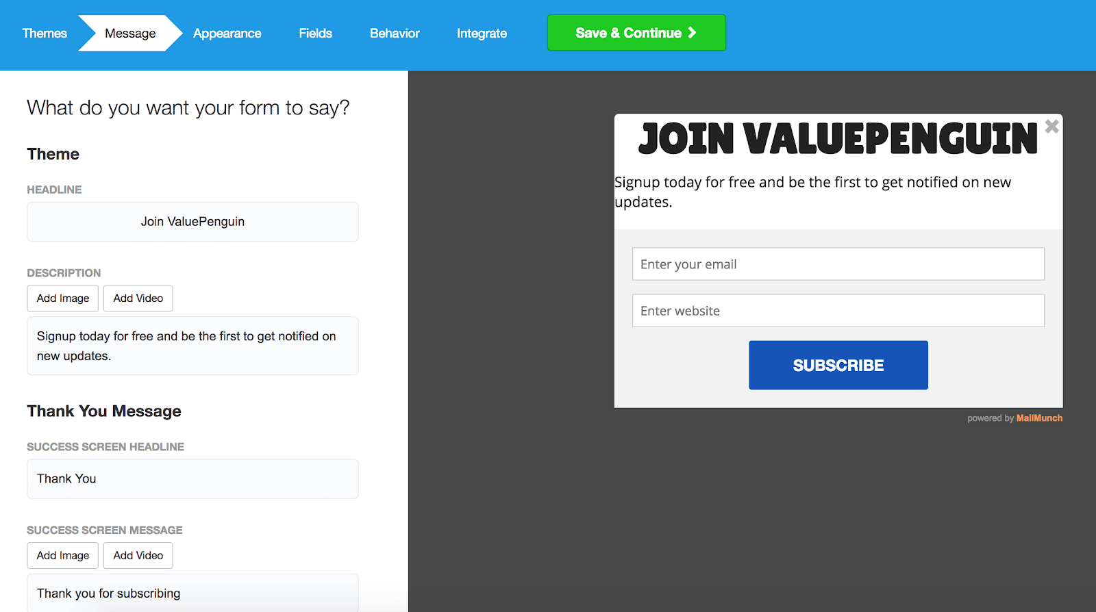 MailMunch Review Opt-In Form Customization