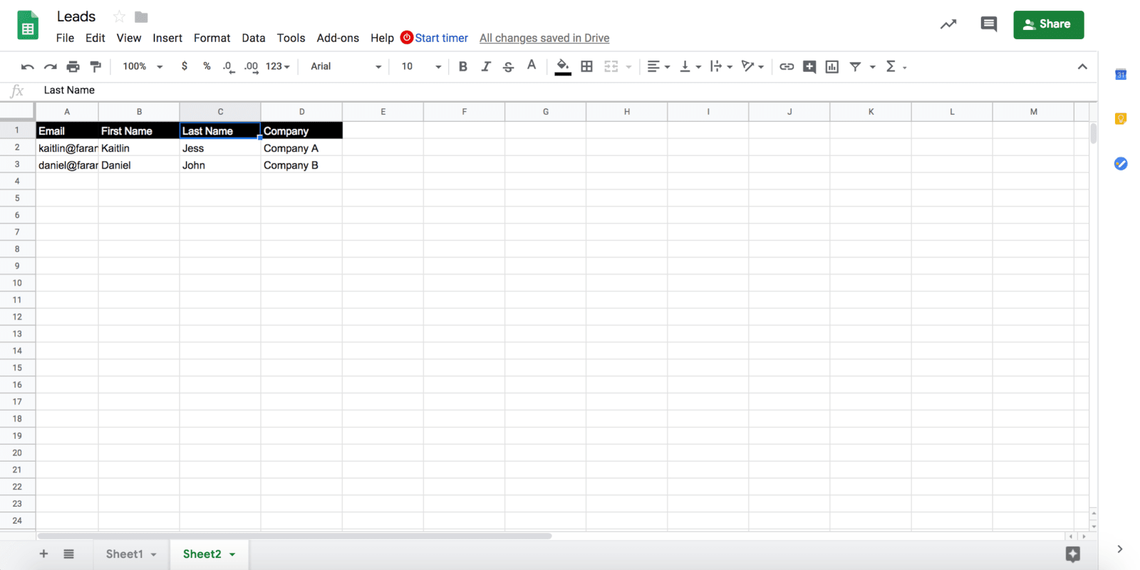 Mailshake Review Creating Leads Spreadsheet With Google Drive