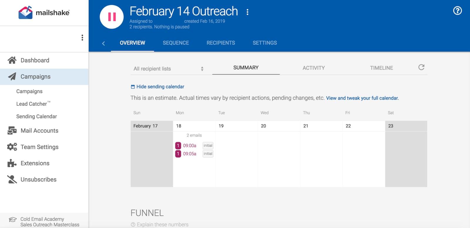 Mailshake Review Outreach Calendar