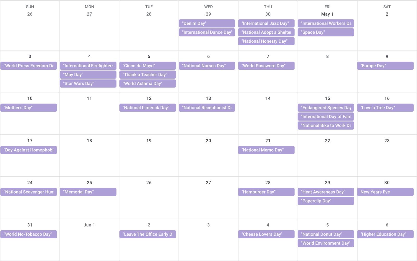 May 2020 Calendar