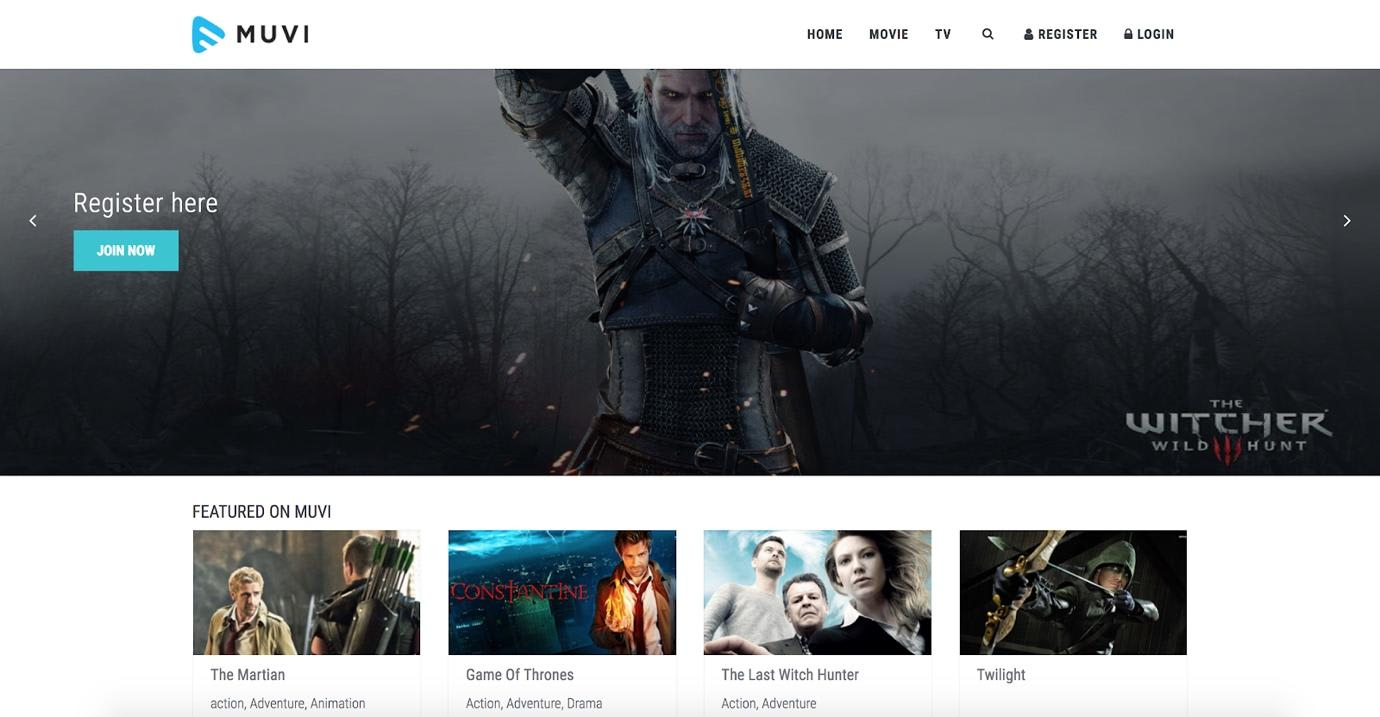 Muvi Review Branded Website Example