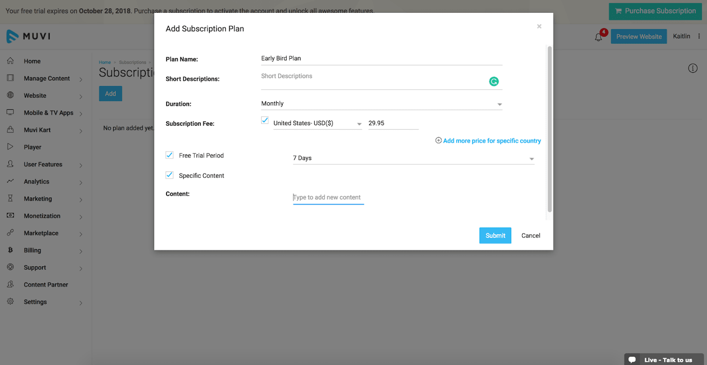 Muvi Review Creating a Subscription Plan