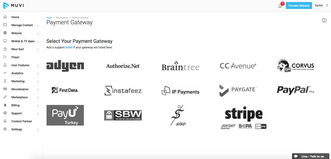Muvi Review Payment Gateway Options