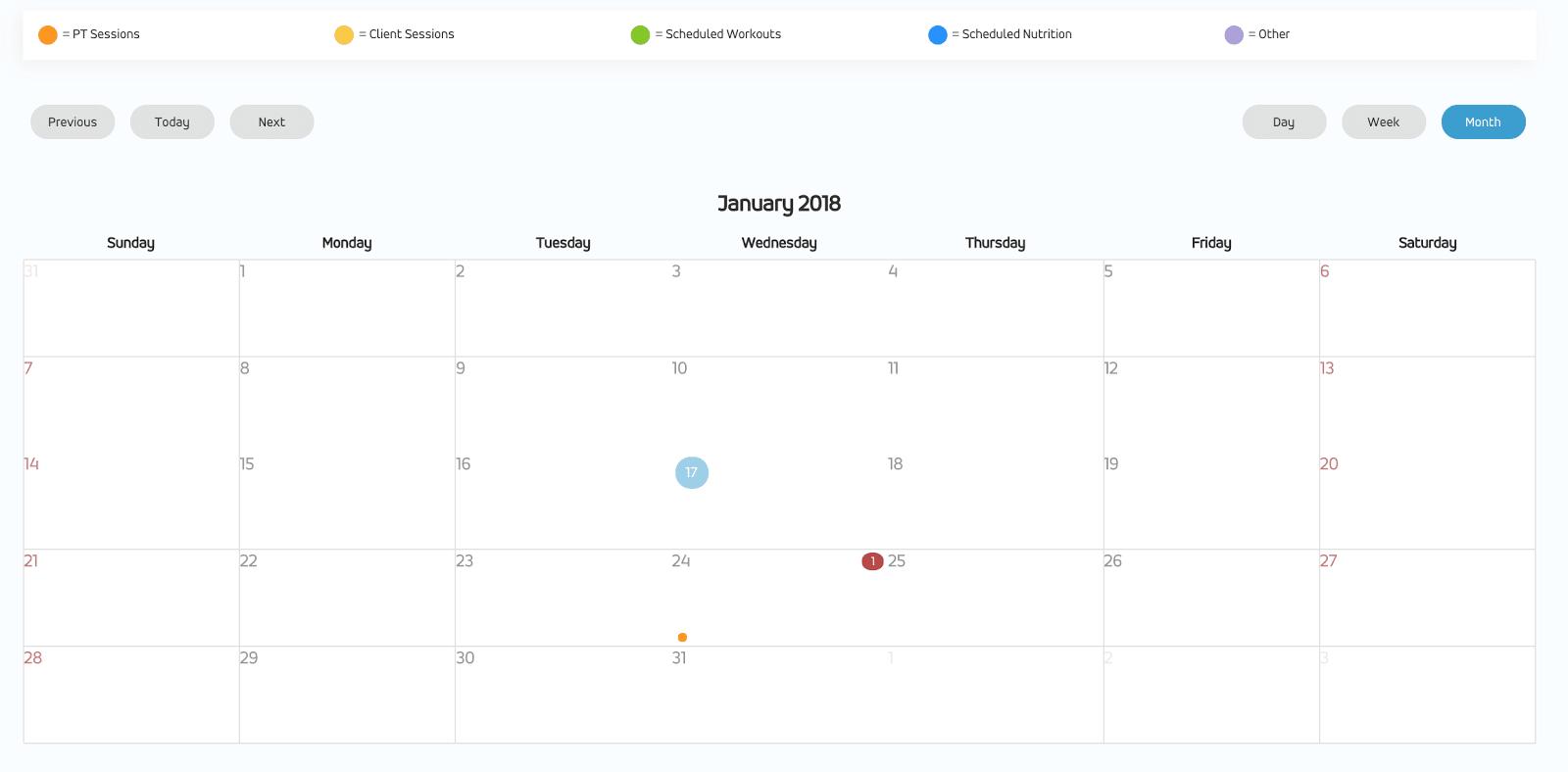 My PT Hub review calendar