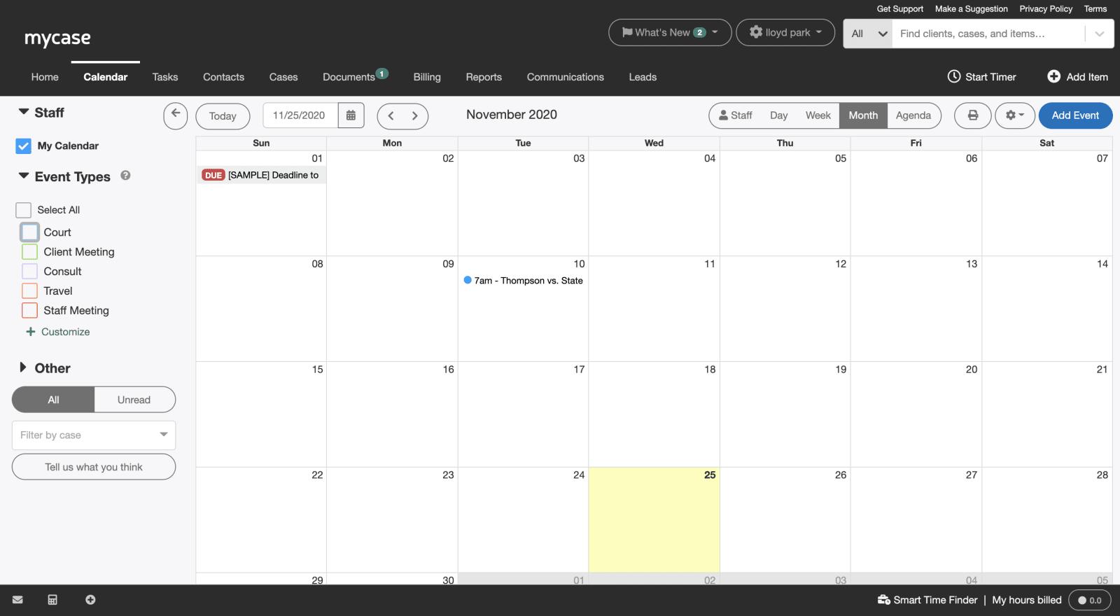 MyCase calendar image