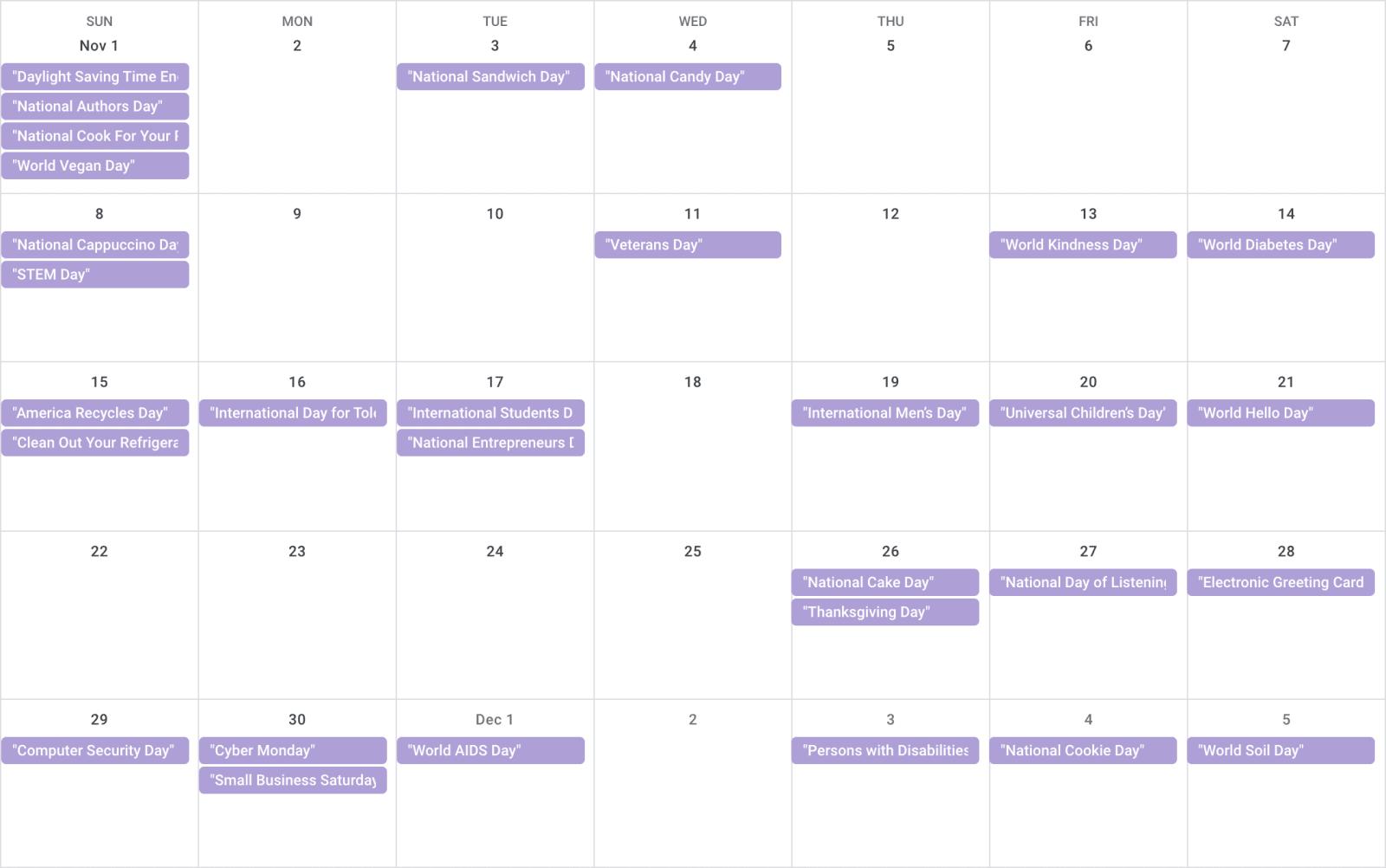 November 2020 Calendar