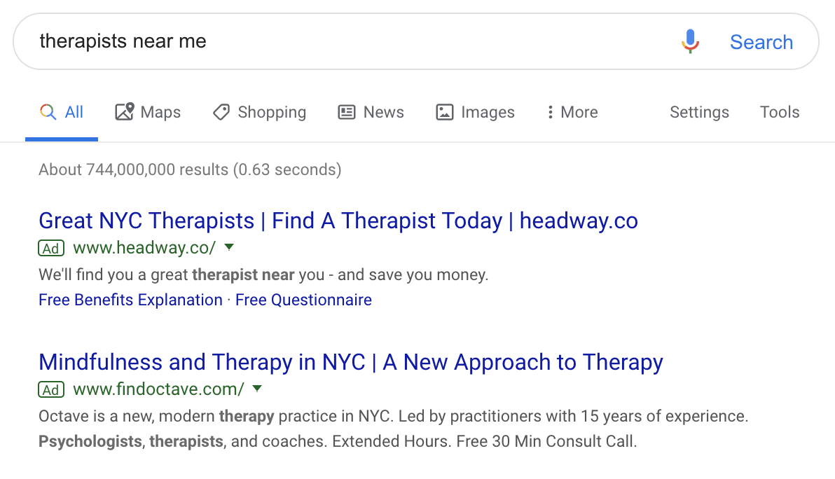 therapist near me results