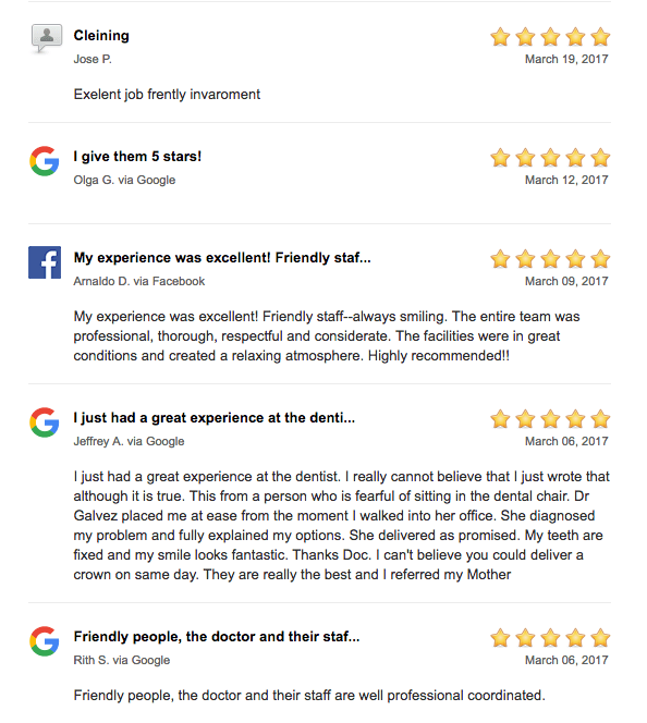 patient reviews google facebook