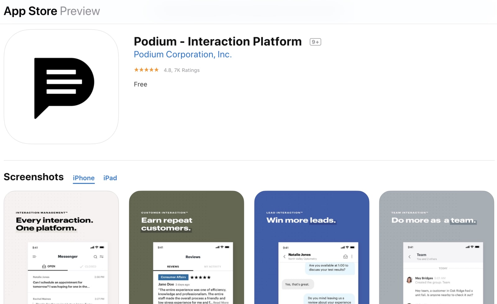 Podium mobile application