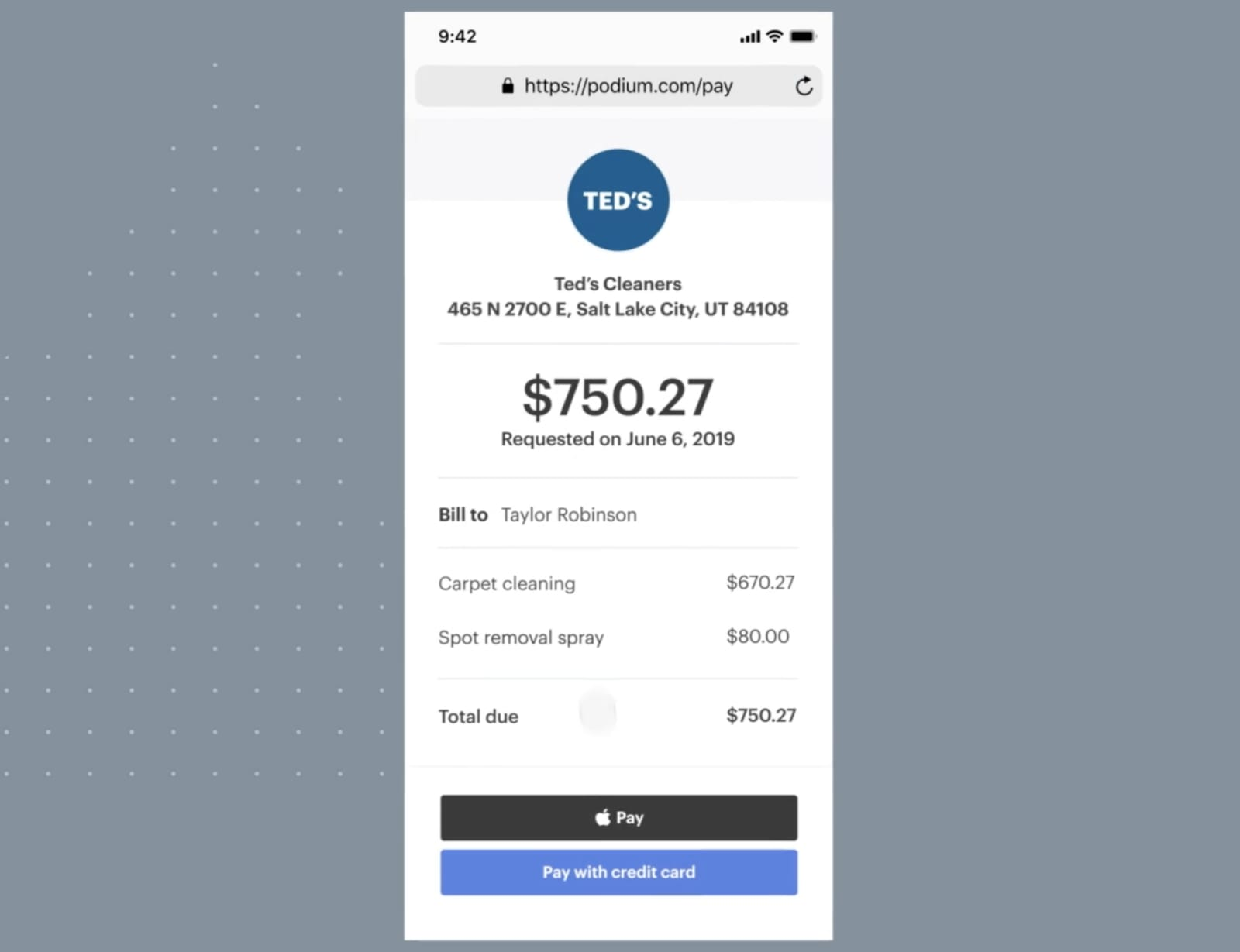 Podium payments interface