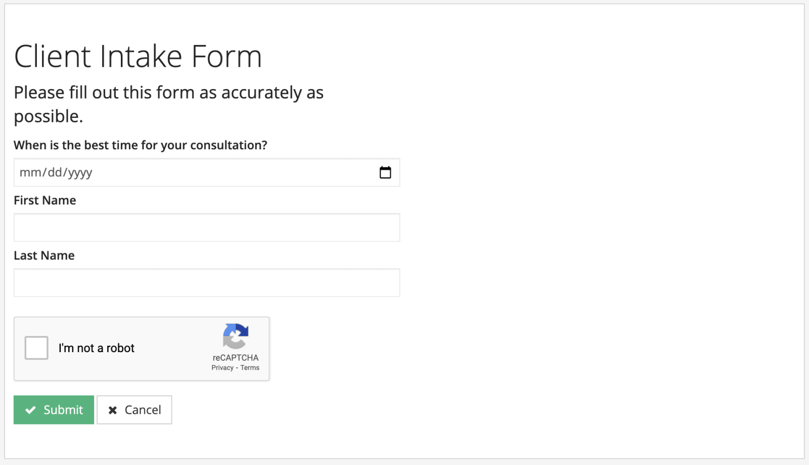 practicepanther online client intake form image