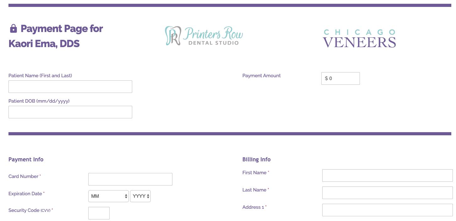 Printers Row Dental Studio Payments