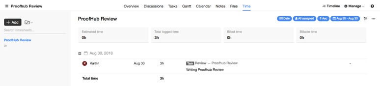 ProofHub Review Time Tracking