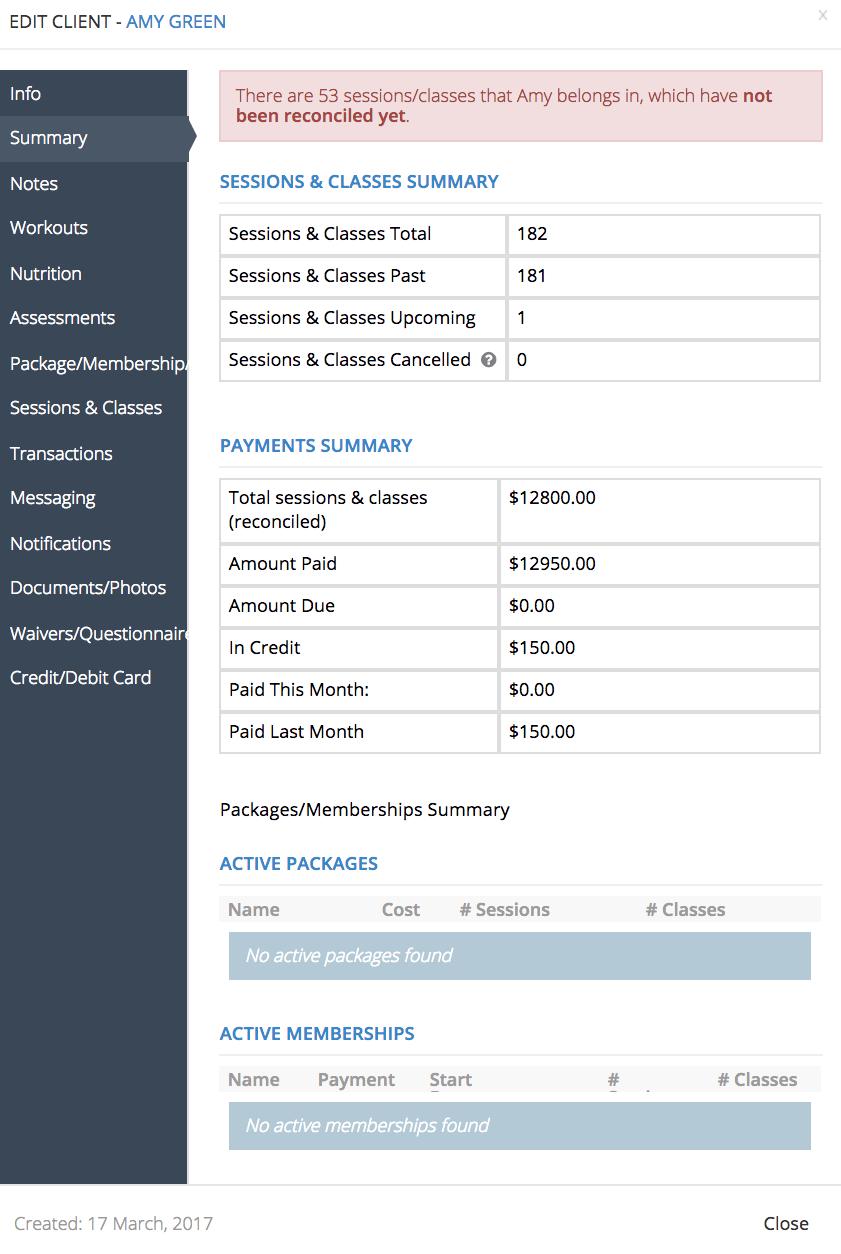 PTminder Client Profile
