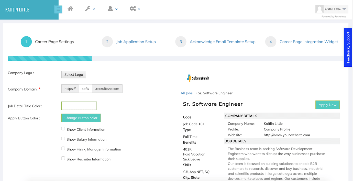 Recruiteze Review Creating Careers Page