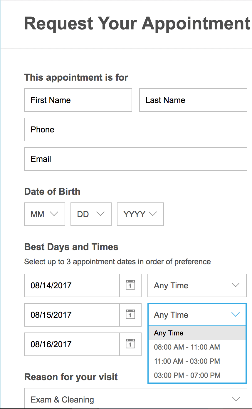 Patient Connect 365 Appointment Scheduling Example