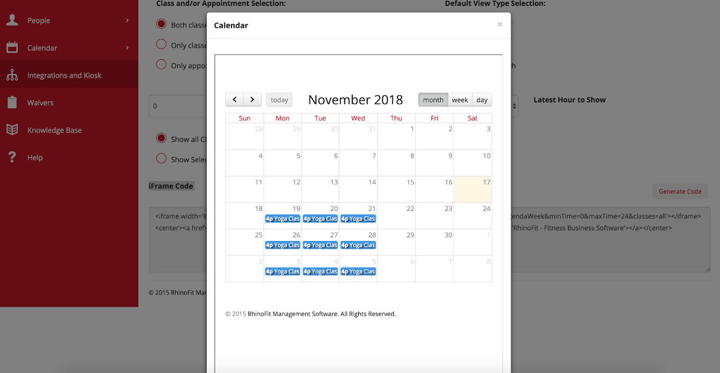 Rhinofit Review Class Calendar