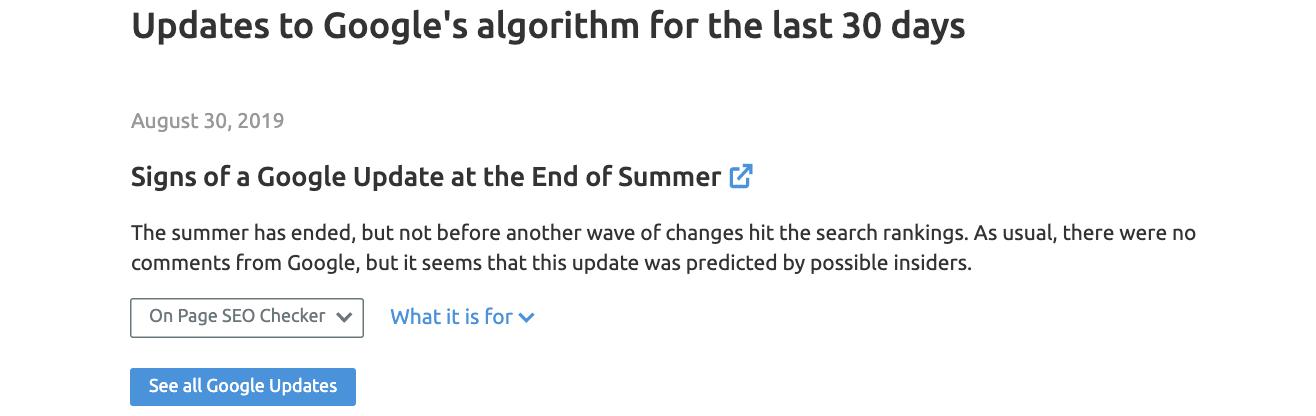 SEMrush Sensor Google Algorithm Updates past 30 days