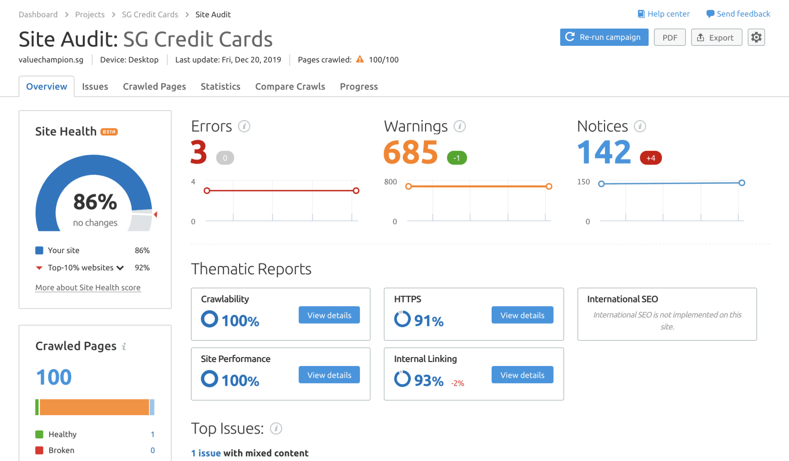 SEMrush Site Audit Interface