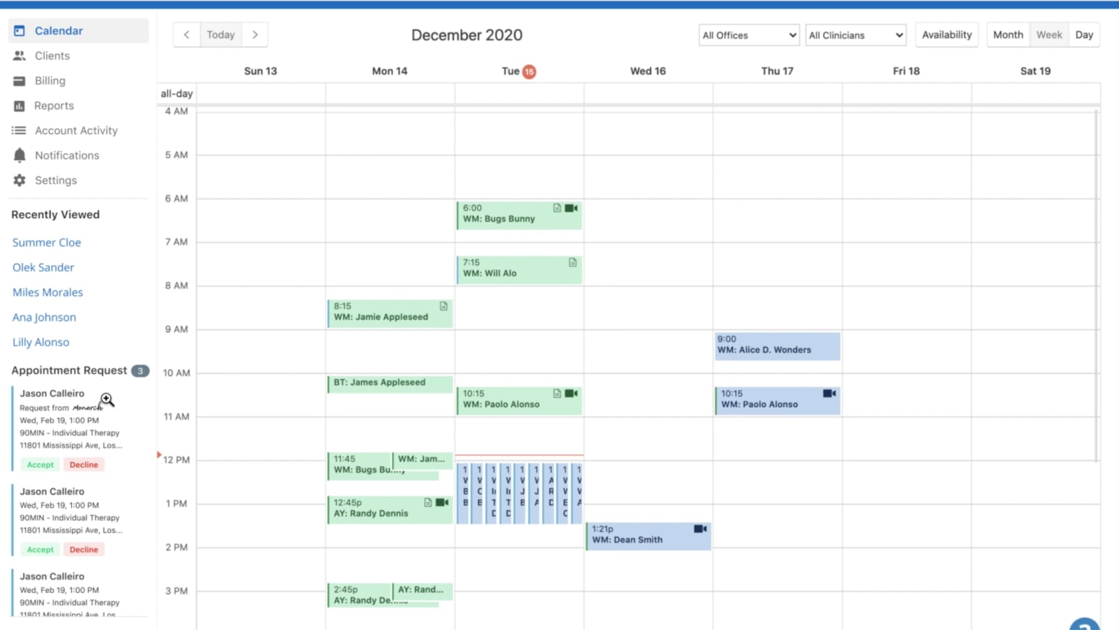 SimplePractice Monarch Appointment Calendar