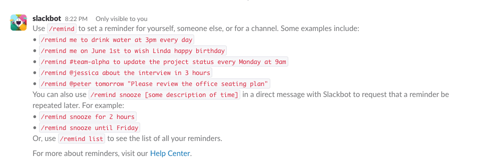 Slack review slash command for reminders