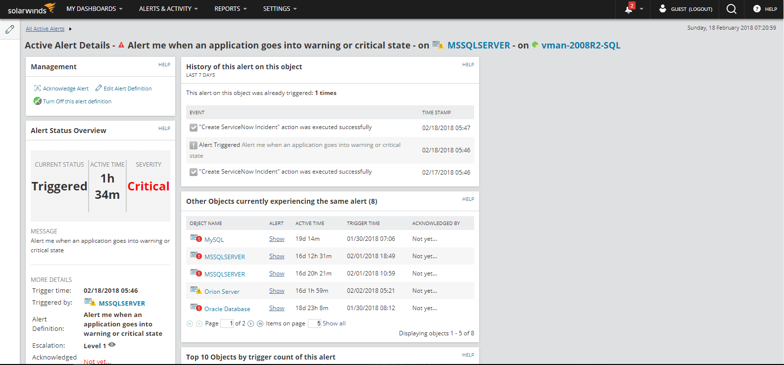 SolarWinds Orion NPM Active Alert Details