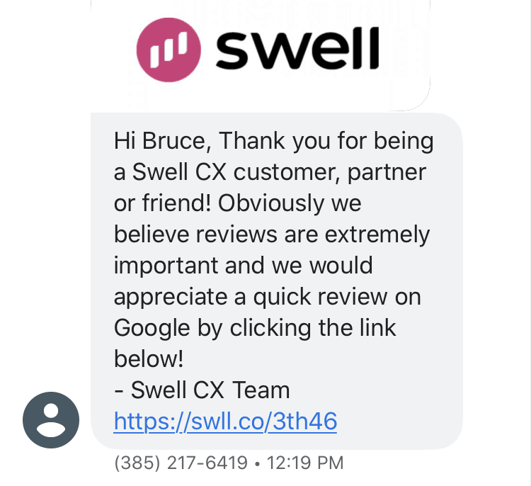 Swell text message review prompt