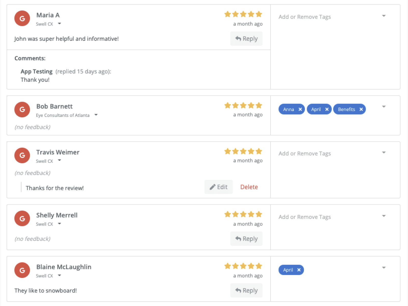 Swell review responses dashboard