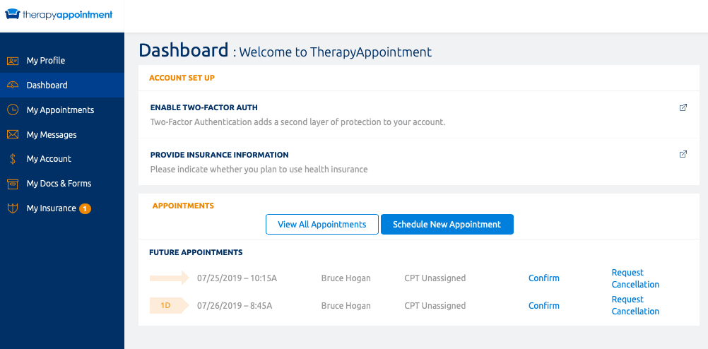 TherapyAppointment Client Portal