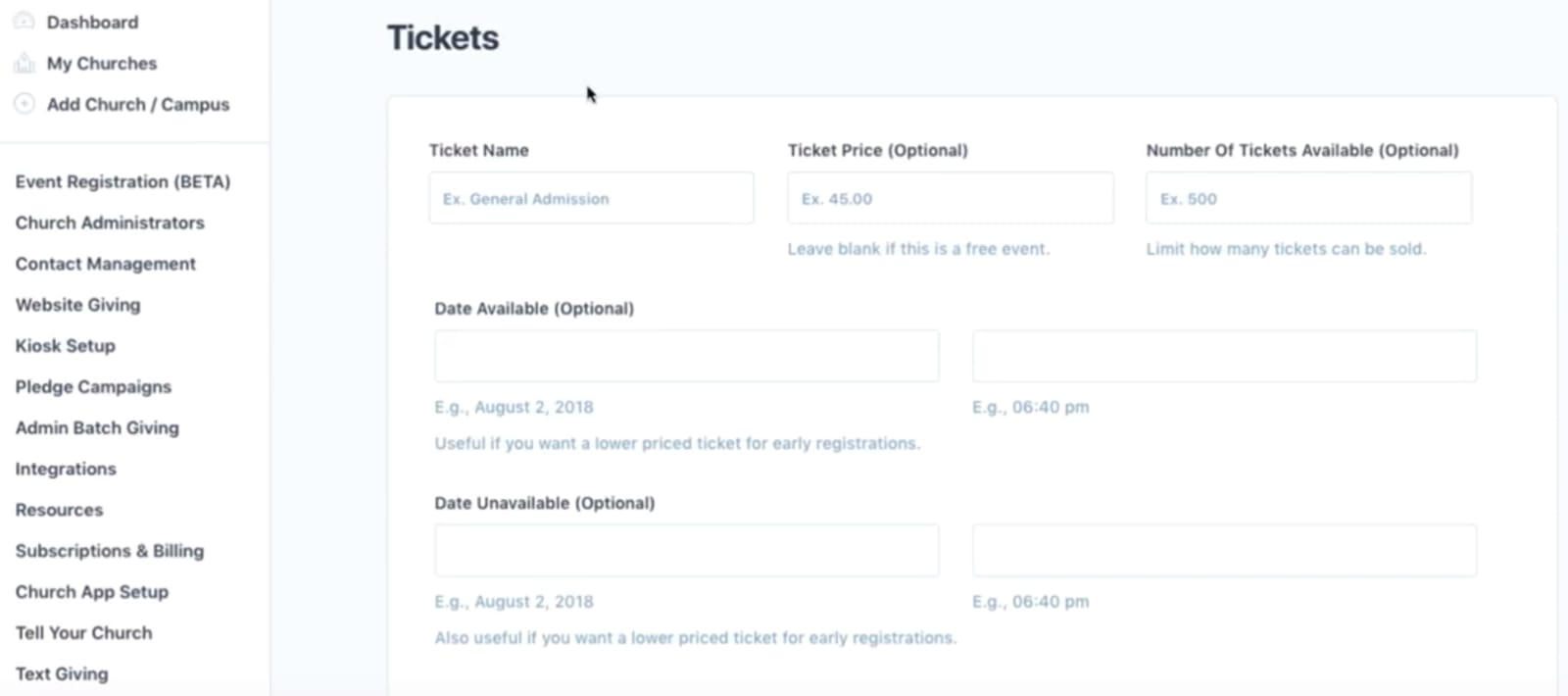 Tithe.ly Ticketing Page