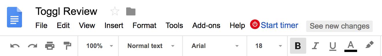 Toggl Review Google Docs Integration