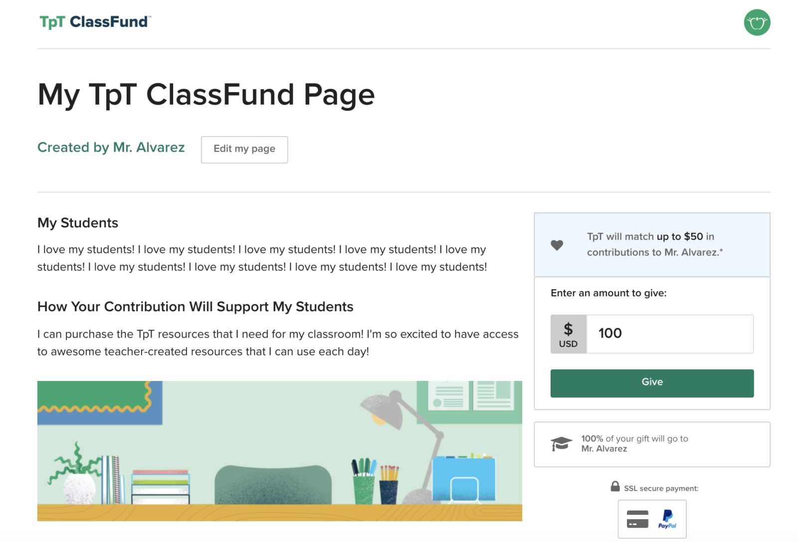 TpT ClassFund page