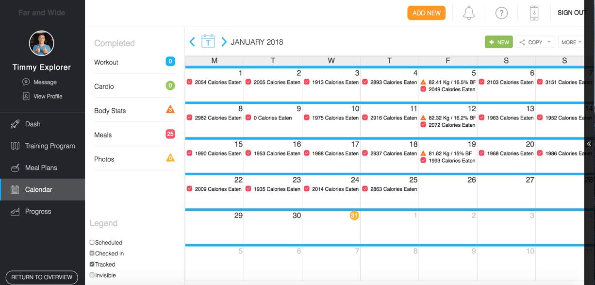 Trainerize review calendar