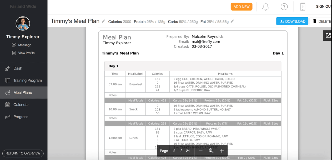Trainerize review meal plan