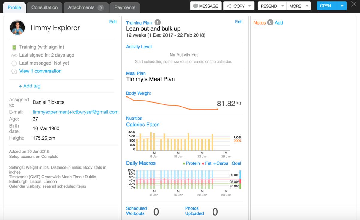 Trainerize review client profile