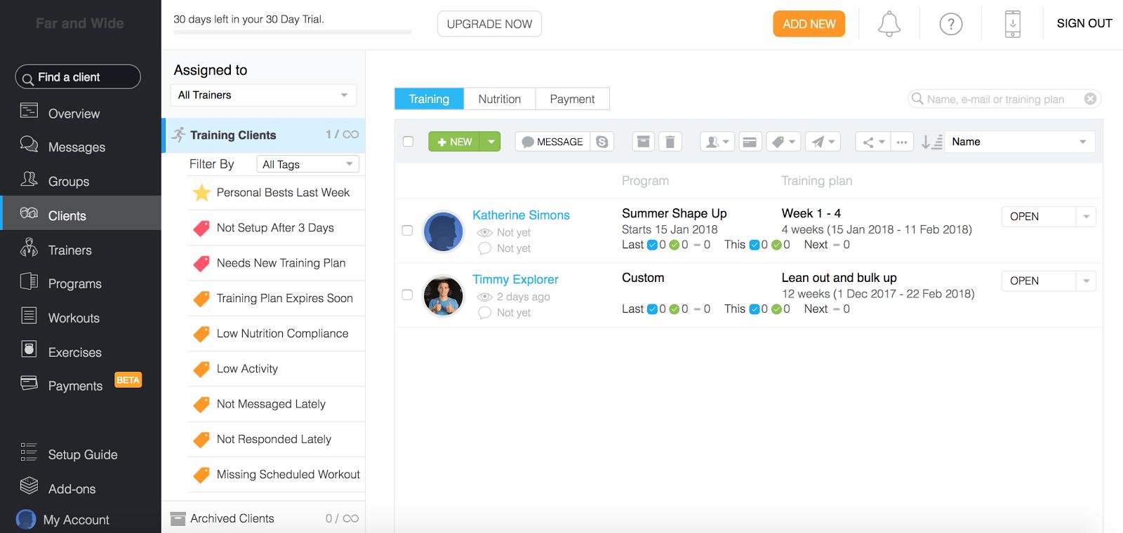 Trainerize review client management