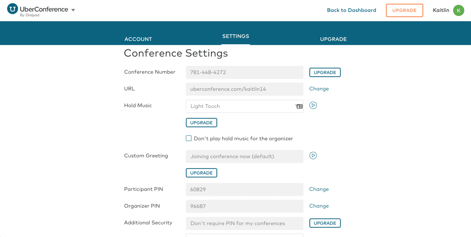 UberConference Review Conference Settings