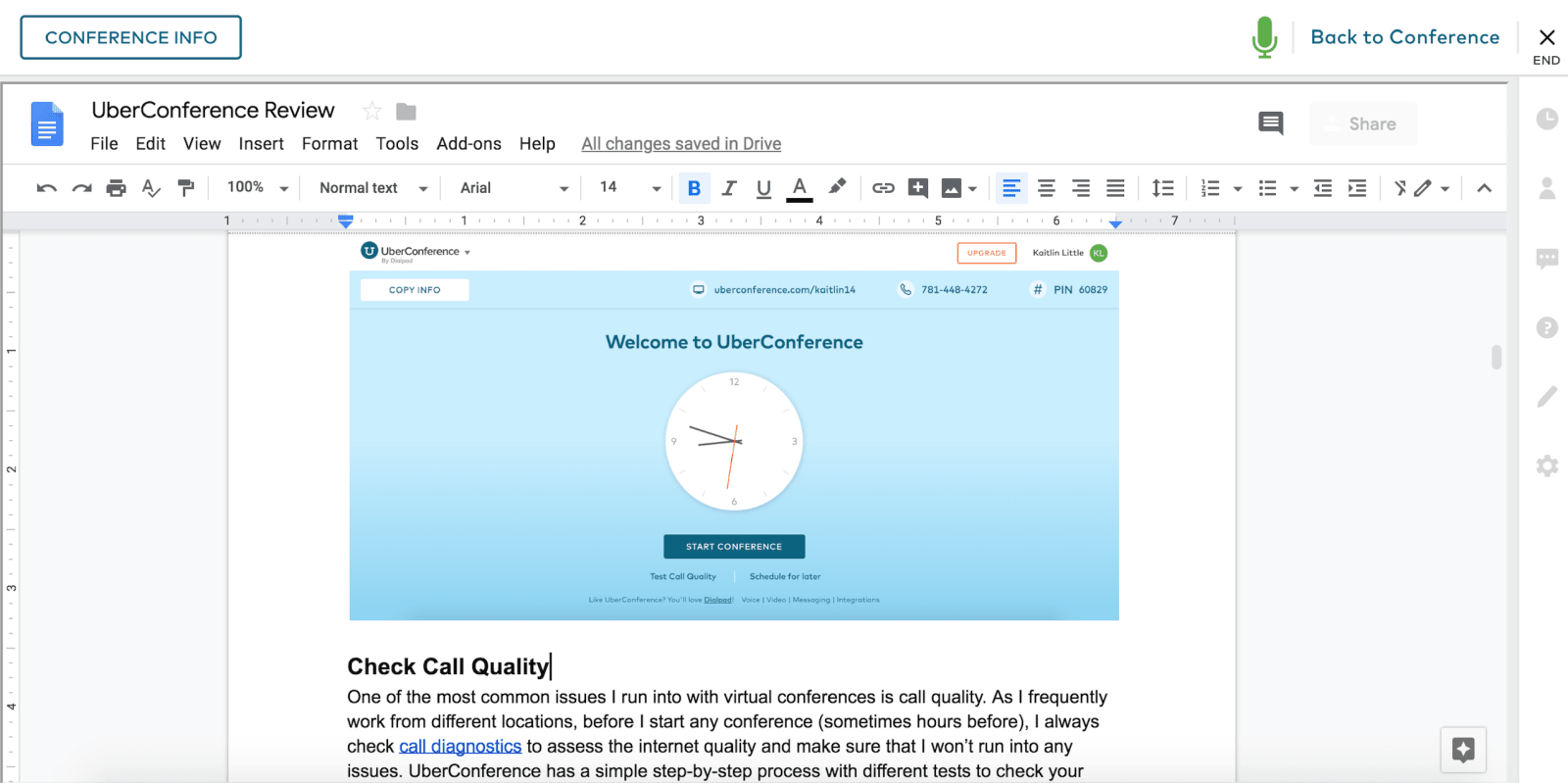 UberConference Review G Suite Integration Example