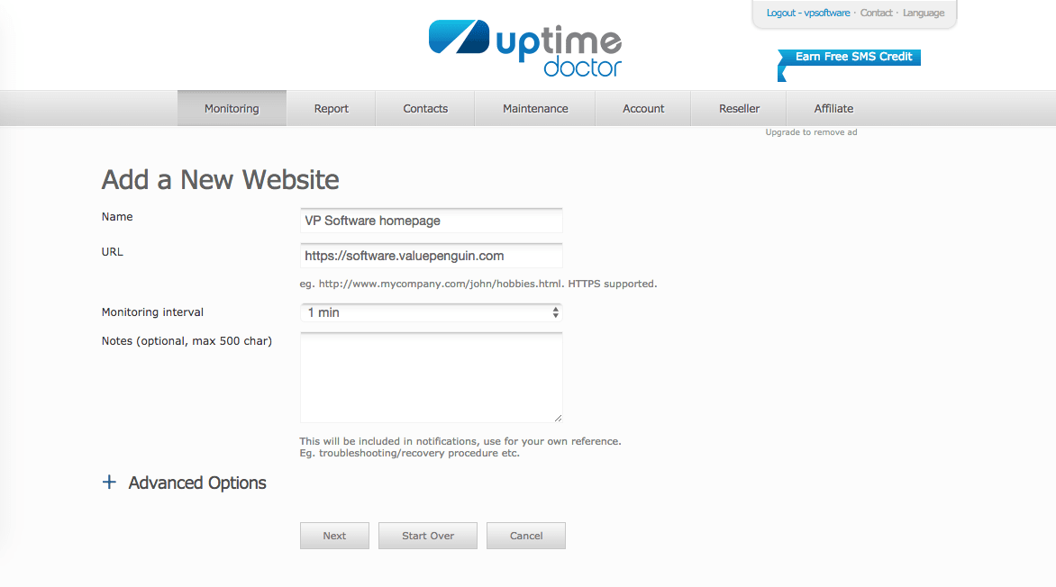 Uptime Doctor monitoring add website check
