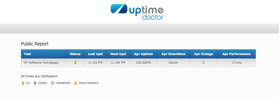 Uptime Doctor monitoring public status page