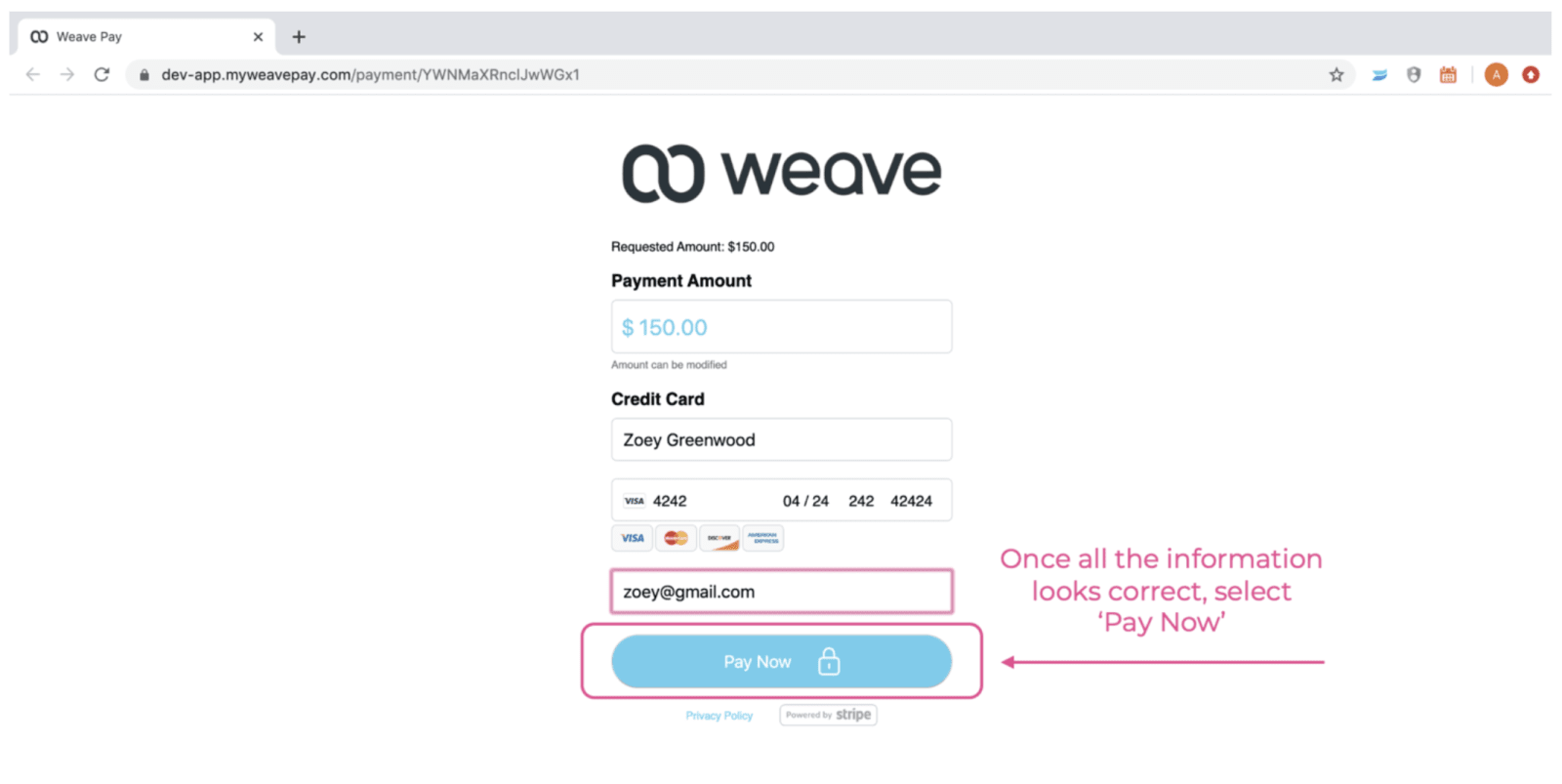 Weave manual card entry