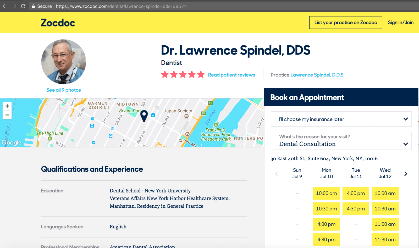 Dr. Spindel Zocdoc Profile