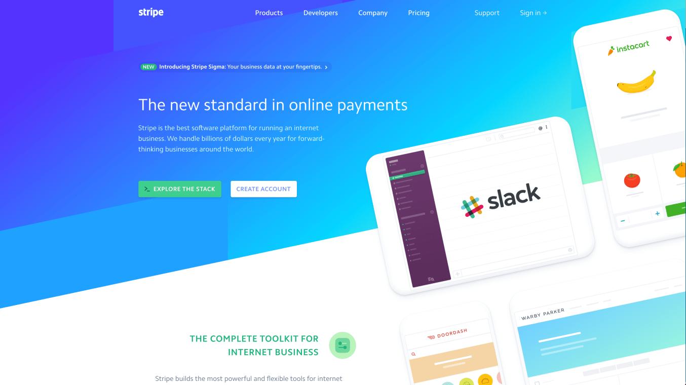 Website of Stripe