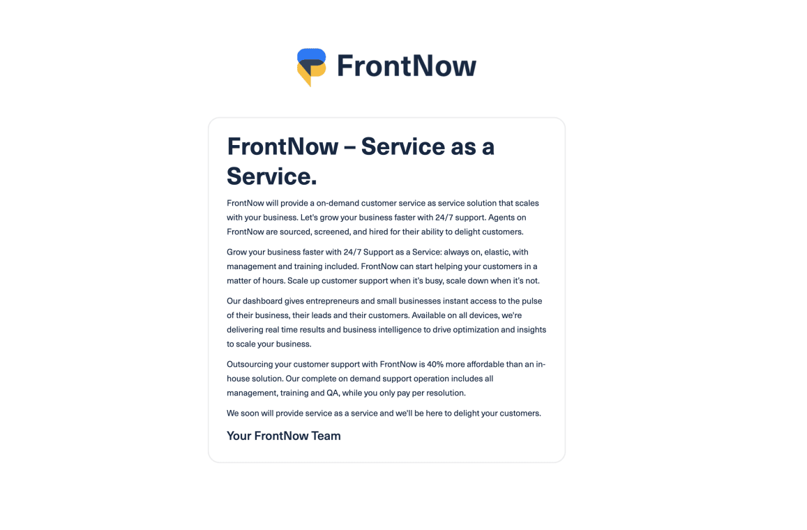 Website of FrontNow