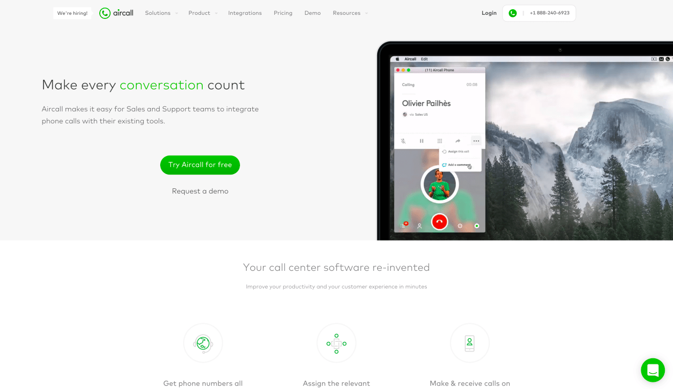 Website of Aircall